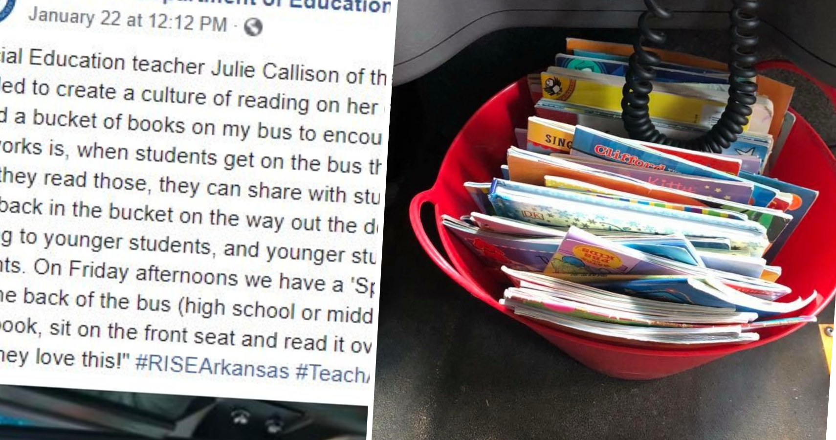 Image result for Bus Driver's 'Bucket Of Books' Is An Idea Every School Should Try
