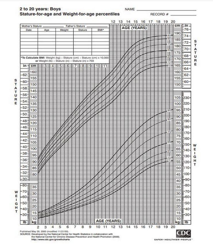 wykres wzrostu chłopca's growth chart